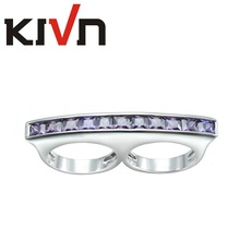 KIVN Fashion Jewelry Luxury CZ Cubic Zirconia Two Double Finger Rings for Women Promotion Mothers Day Birthday Christmas Gifts