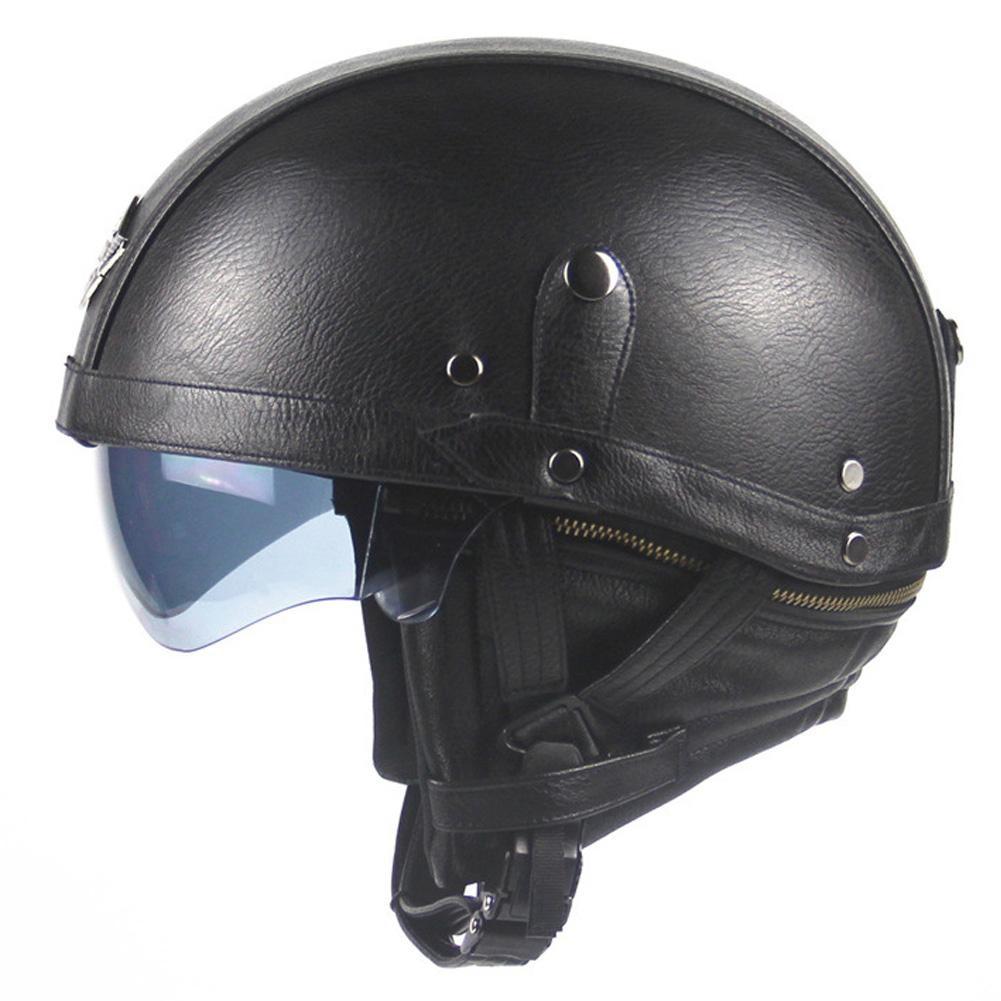Harley Motorcycle Helmets Retro Personality Unisex Half helmet Summer Pedal Motorcycle Cruiser Leather Helmet Protector Kit
