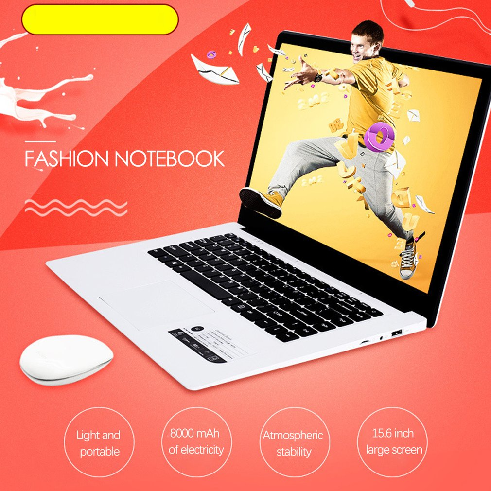 A10 ultra-thin laptop Notebook 15.6 inch Intel Z8350 Quad Core 4G 64G student business office Portable computer 4