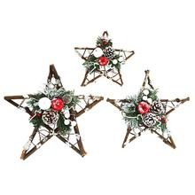 DIY Christmas Crafts Pinecone Rattan Five Point Stars Ornament Party Window Decorations Christmas Pe