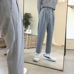 Image 2 - Мужские хлопковые брюки для отдыха 2020, мужские высококачественные тканевые повседневные штаны шаровары, западный стиль, светильник, брюки серого/черного цвета