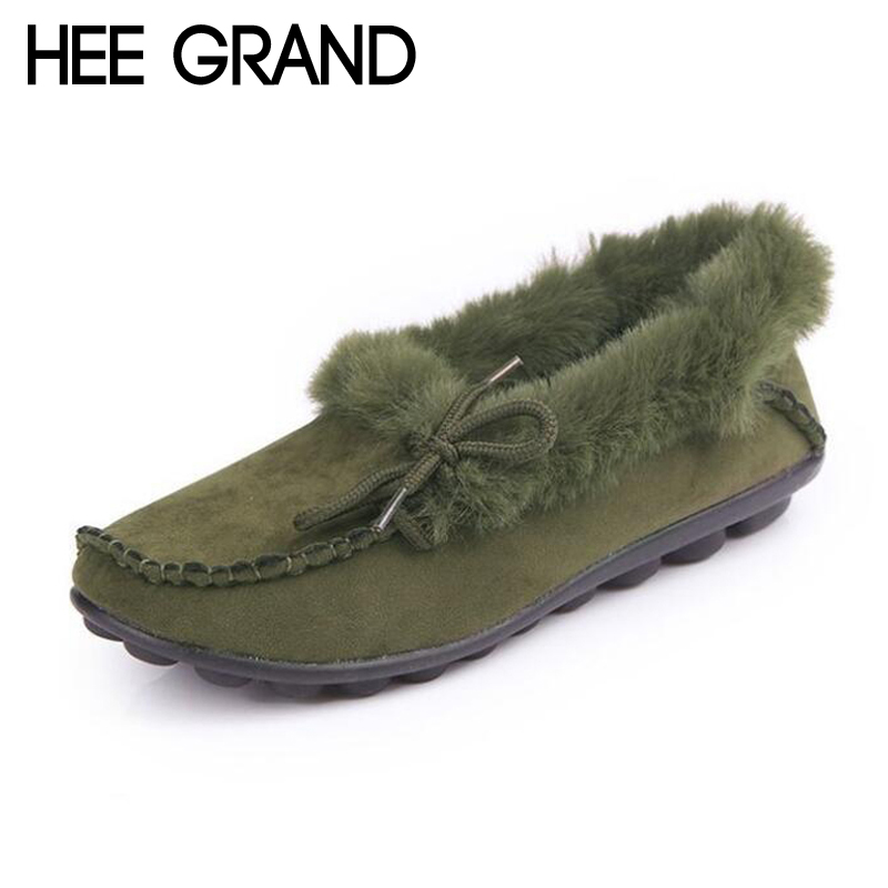 HEE GRAND Soft Women Shoes Faux Suede Winter Platform Shoes Woman Slip On Loafers Ballet Flats 3 Colors Size Plus 36-44 XWD6216 jingkubu 2017 autumn winter women ballet flats simple sewing warm fur comfort cotton shoes woman loafers slip on size 35 40 w329