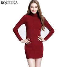 Rqueena 2017 Autumn Winter Long Knitted Dress Sweaters Korean Women Clothing Long Sleeve Turtleneck Long Knitted Sweater Dress
