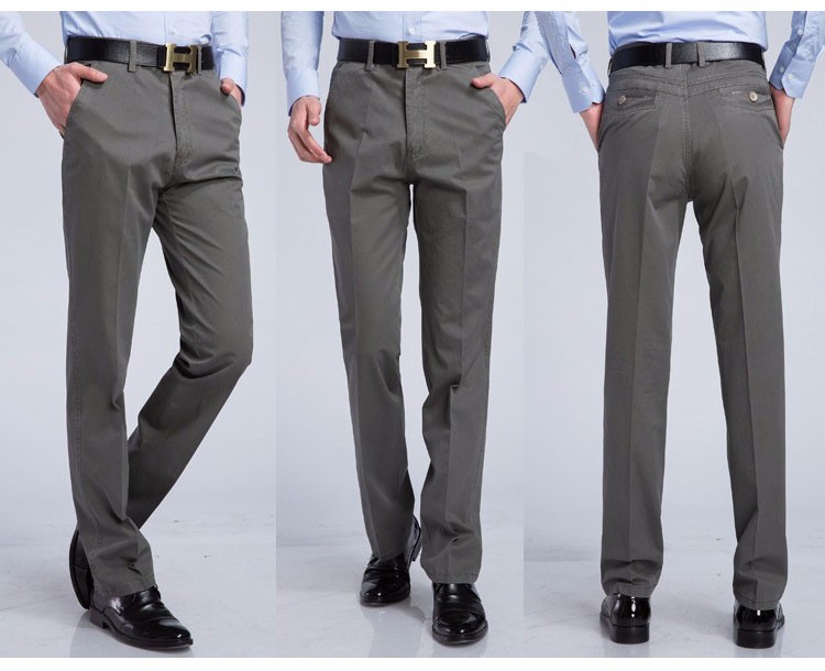 17 Men's Casual pants brand Men thin long dress pants Straight Business Casual male Pants Leisure Long Trousers 8