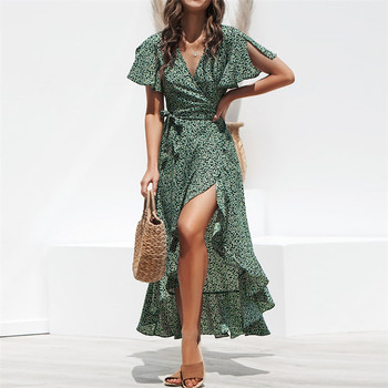 цена на Autumn Beach Maxi Dress Women Floral Print Boho Long Chiffon Dress Ruffle Wrap Casual V-Neck Split Party Dress Robe Femme #15