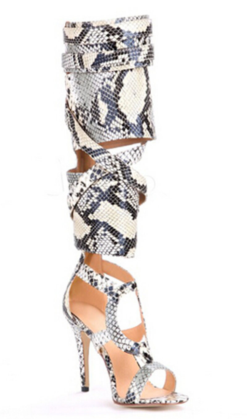 new fahsion snakeskin leather cut-outs high heel sandals open toe buckle decoration stiletto heel gladiator summer boots newest summer high heel black white multi buckle sandals ladies open toe gladiator sandals cut outs designs shoes