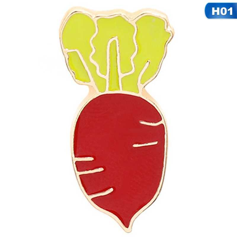 Cute Cartoon Cabbage Vegetables Carrot Enamel Metal Brooches Pin  Badge For Women Men Shirt Bag Cap Badge Jewelry Gifts