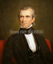 TOP art work -Christmas present # USA America President  James K. Polk  -36″ inch -handpaint oil painting on canvas-
