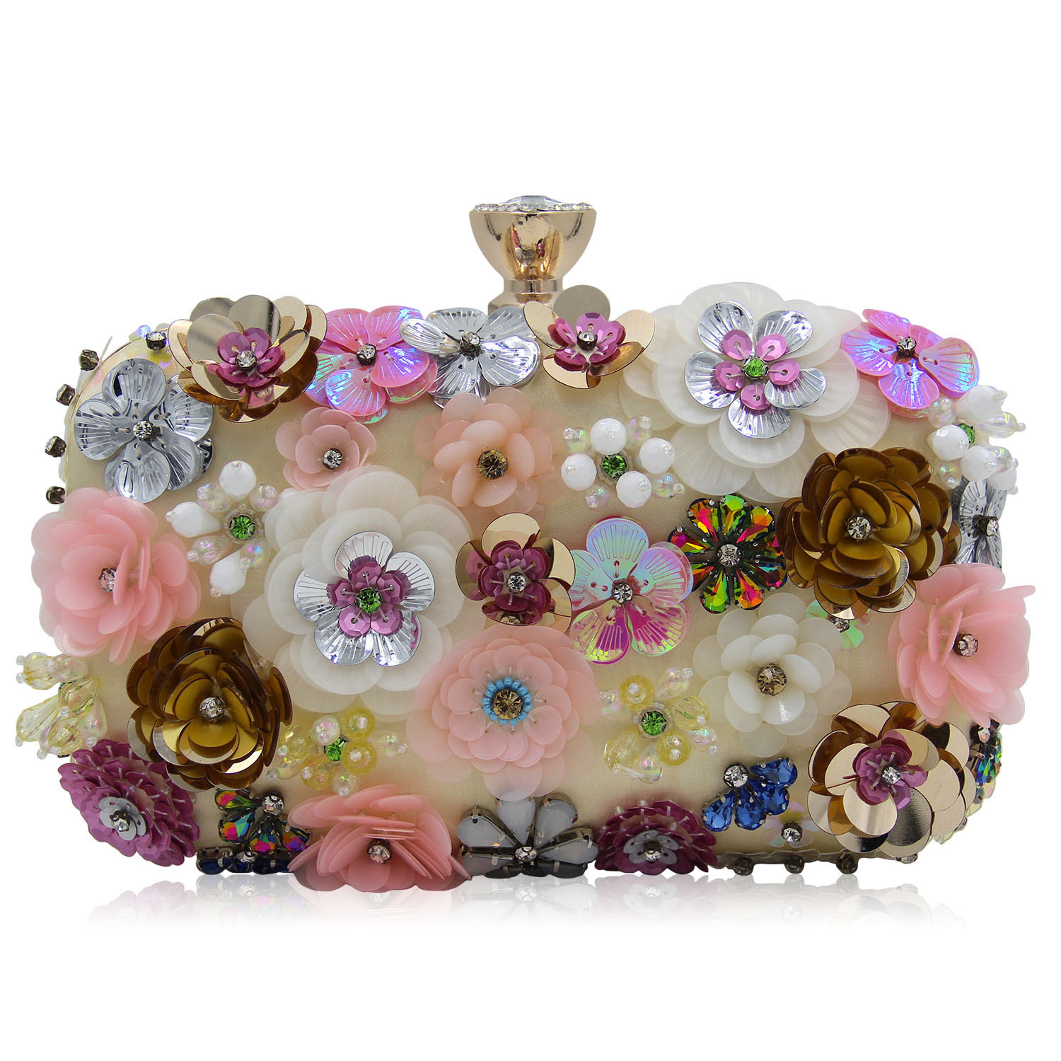 2018 New and Chic Evening Clutch with Colorful Flowers, Sequined Chain Bag Popular In Europe and America for Evening Banquet chic quality colorful flowers and riding girl pattern removeable wall stickers