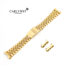 CARLYWET 13 17 19 20 22mm Hollow Curved End Solid Screw Links Gold Steel Replacement Watch Band Strap Bracelet For Jubliee new arrival 14 15 16 17 18 19 20 21mm watch band strap bracelet replacement curved end free tool watchbands men hours promotion