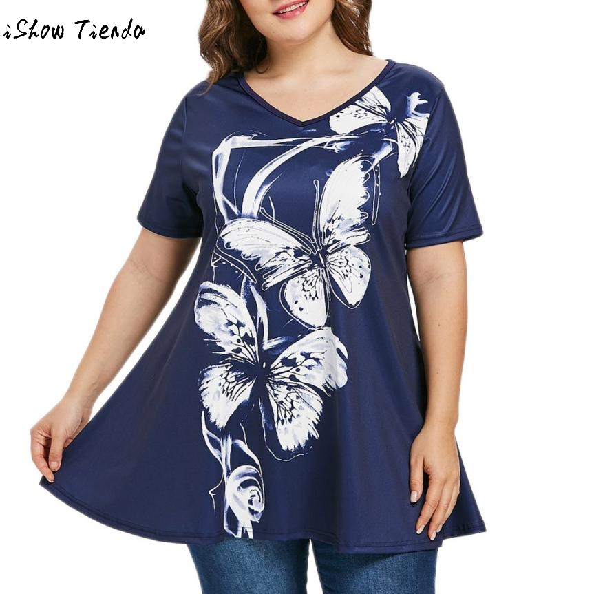 2018 Plus Size Butterfly Print V Neck Blouse Shirt Summer Women Tops  Loose Short Sleeve Cotton Ladies Tops Tees Big Size 5XL#GH short sleeve blue blouse