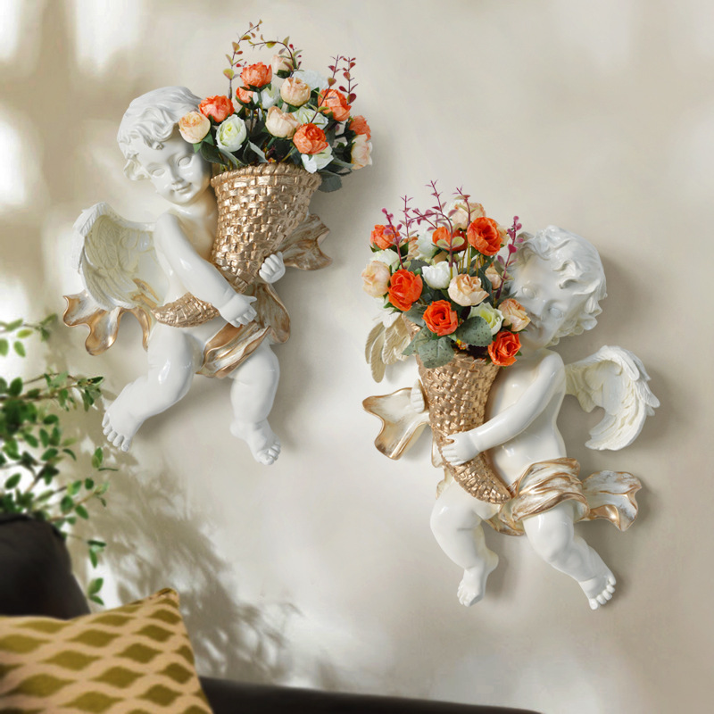 TUDA Free Shipping 2018 Artificial Flower Pots Vase Angels Wall Flower Vase Flowers For Wall Decor Hanging Vase