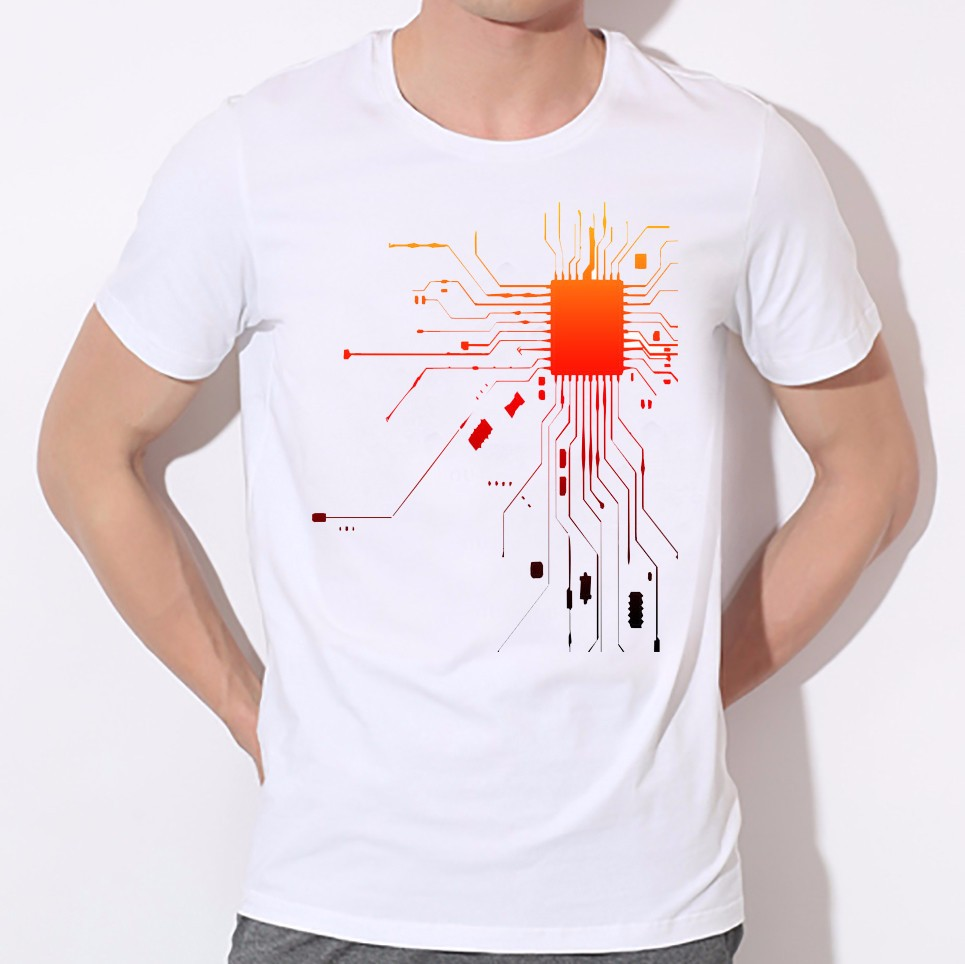Heart is the body of the integrated circuit board printing T-shirt personality men round collar T-shirt factory direct sale