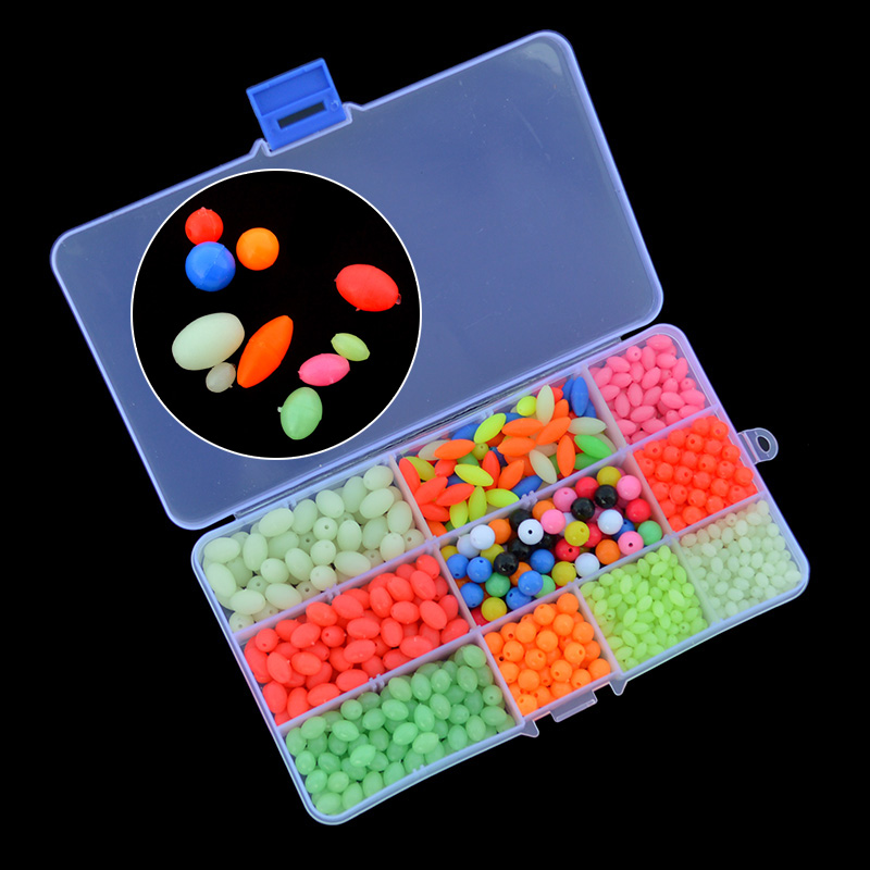 Luminous Fishing Beads 840pcs/set Mixed Size Colors Round Oval Plastic Floating Fluorescent Fishing Beads With Box Package