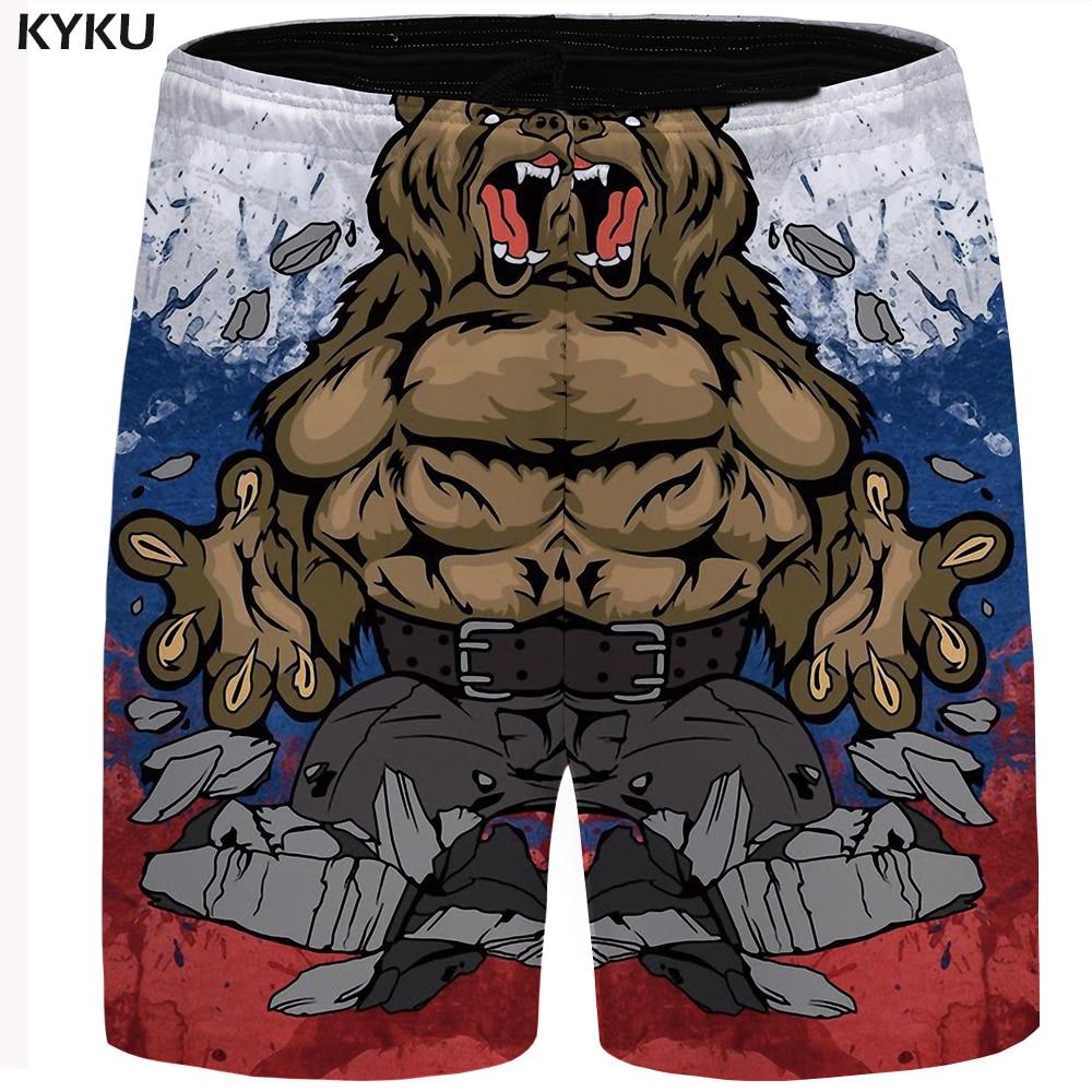 KYKU Brand Russia Shorts Men Bear Russia Flag War Casual Shorts Hip Hop Mens Short Pants 2019 New Summer Sweatshorts Hipster