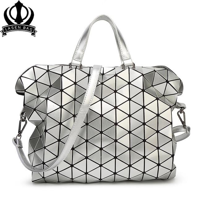 Drop Shipping Geometric Design Fashion Bao Handbag Foldable Plaid Women  Shoulder Bag Quilted Folded Casual Large 3fb6e234edef4