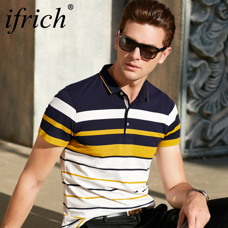 Men's Polo Shirt Short Sleeved Stripe Contrast Polo Boss Men Casual Shirt Tops And T-Shirt IFRICH Brand Men's Clothing Polo Tee