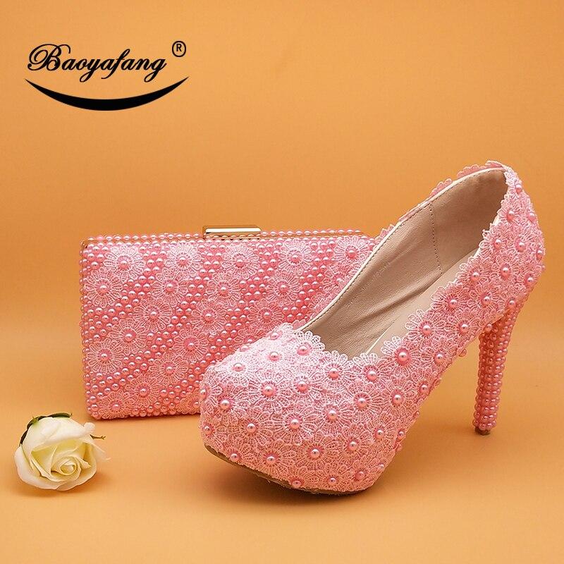 Sacs Et De 12 Mariage 12cm Bout Rose Fleur Bébé Haute Chaussures Avec Rond Dames Les forme Femme Talon Assortis Baoyafang Pink Plate Cm nwCqU86txx