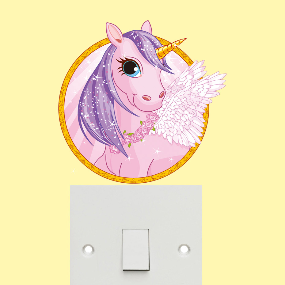 Colorful Flower Happy Holidays Unicorn Wall Stickers For kids Girls ...