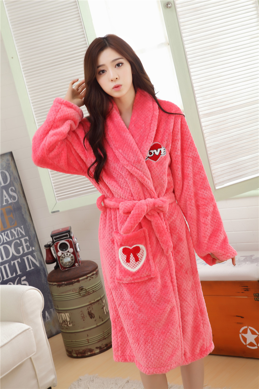 31eacbca1d Autumn winter nightgowns female casual flannel thick bathrobes for women  long sleeve ladies warm sleepwear robes homewear A457-in Robes from Women s  ...