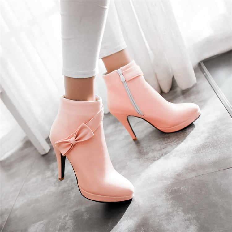 PXELENA Sweet Lolita Princess Ankle Boots Pink Beige Thin High Heel Women  Wedding Boots Bride Shoes 142e378e1a23