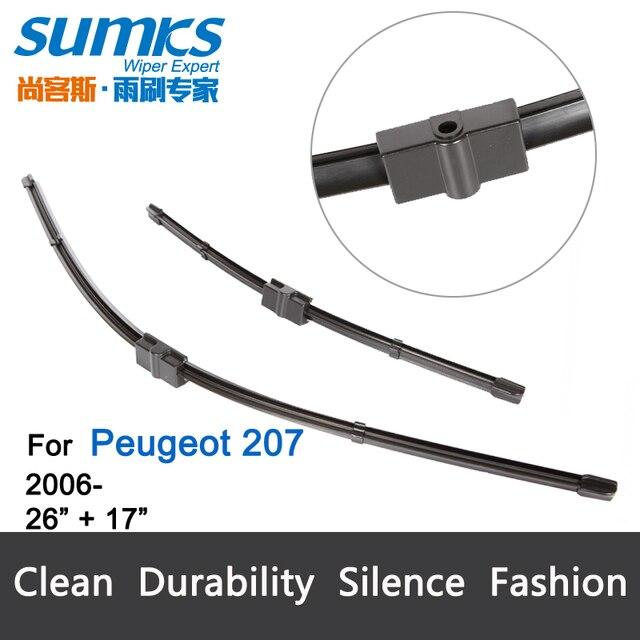 """Escovas para Peugeot 207 (2006-2012) 26 """"+ 17"""" fit outro lado do limpador do tipo pino braços só"""