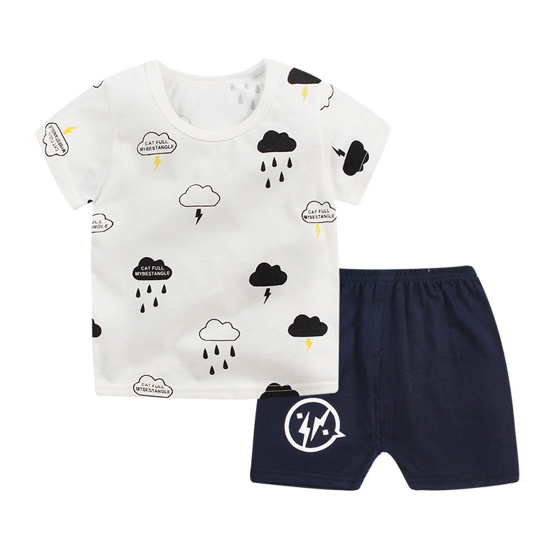 WEIXINBUY Summer Kids Boys Girls Casual Cute Cotton Star Pattern Short Sleeve T-shirt Tops + Shorts Pants Clothes Sets ...