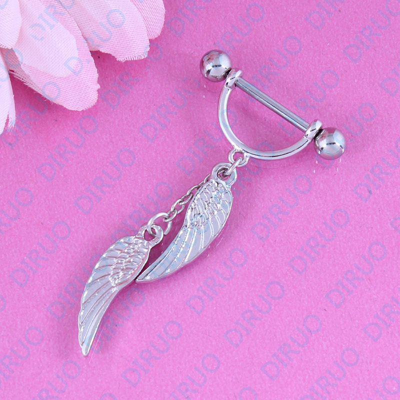 Angel Wing Crystal Nipple ring piercing Nickel-free 14G 316L surgical steel fashion jewelry free shipping pair