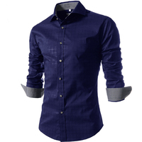 Camisa dos homens 2017 New Design Spring & Summer Mens Camisa Xadrez Da Marca, Casual Slim Fit Camisas Vestido À Moda Para Homens Xadrez Tamanho Grande M-5L