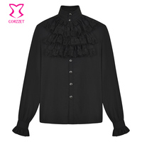 Black Chiffon & Lace Layered Ruffles Stand Collar Long Sleeve Vintage Shirt Gothic Medieval Clothing Victorian Costume Men 6XL