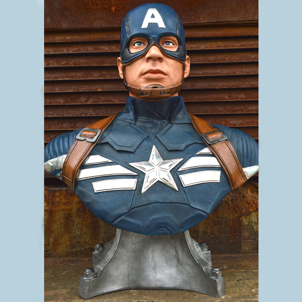 New 1/1 Scale Captain America 3 III Bust Statue (LIFE SIZE) Avengers Recast captain america 3 civil war statue captain america 1 1 bust life size avengers steven rogers sculpture resin model toy w233