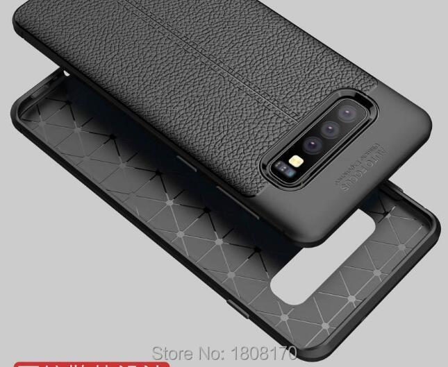 C-ku For Samsung Galaxy S10 S10E S10 Plus For OPPO Realme U1 Litchi Hybrid  Case Soft TPU Rugged Leechee Skin Cover 100pcs
