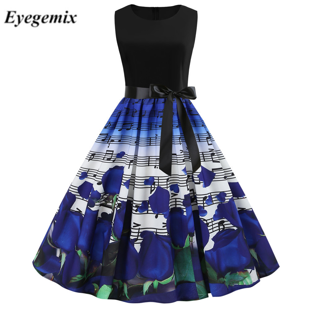 35af3616ae Women Music Note Print Vintage Dress Summer Sleeveless A Line ...