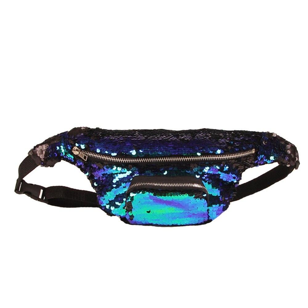 Unisex Waist Bag Waterproof Waist Travel Belt Money Wallet Pouch Hip Bag Pack Leisure Sequins Mini Zip Bag outdoor leisure waist bag black