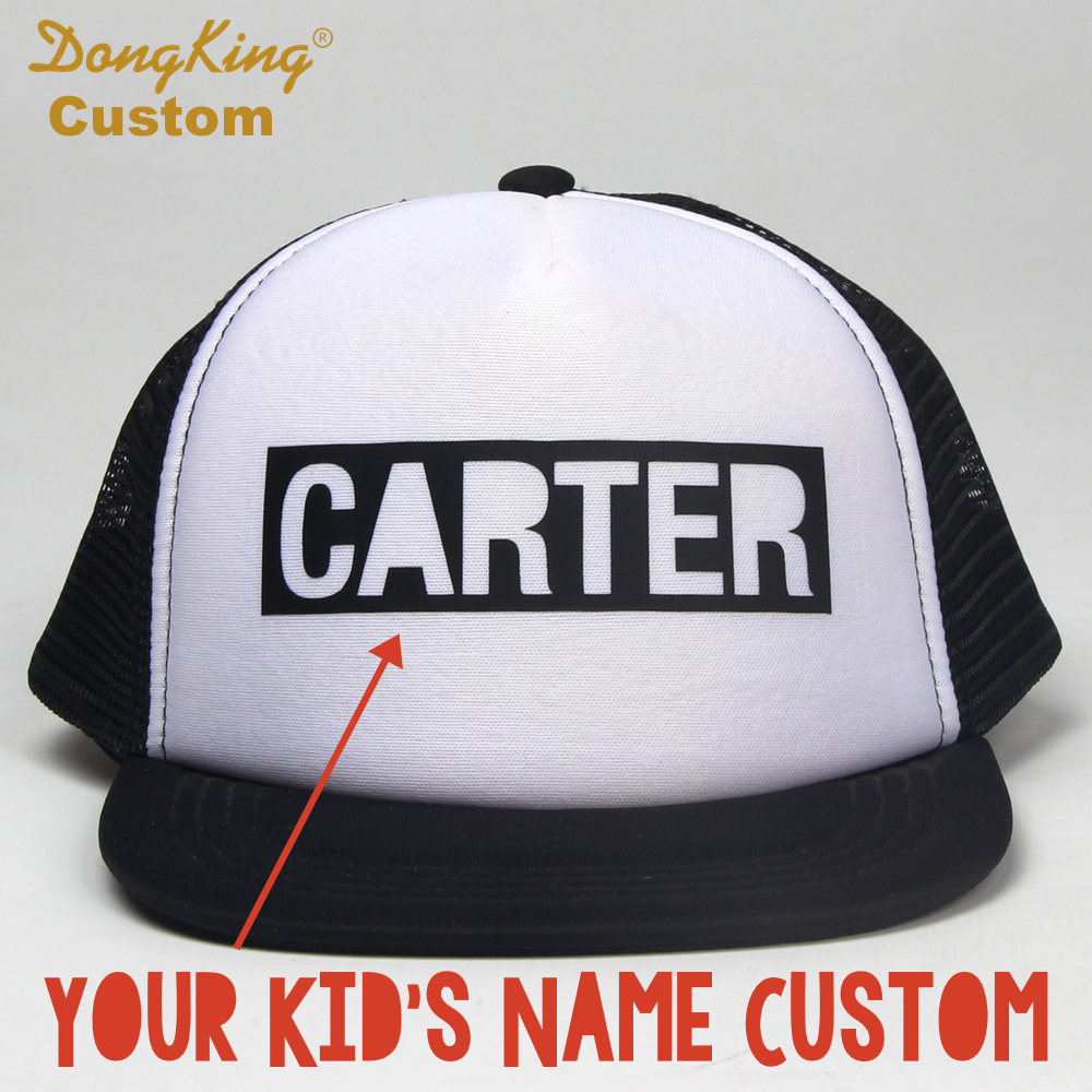 48f3b29b3d2ef DongKing Custom BLOCK LETTER Kids Adult Trucker Hat Custom Toddler Snapback  Personalized Baby Man Women Meth Cap Hats Gift-in Baseball Caps from  Apparel ...