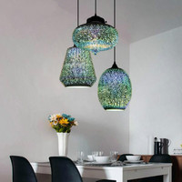 3D dining room lamp creative stained glass bar Pendant Lights retro cafe bar clothing store lighting WF4131717