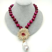 18 14mm fuchsia Tiger eye Necklace Cz pave flower and White Keshi Pearl Pendant