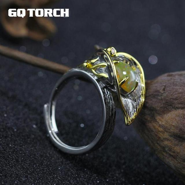 GQTORCH Vintage 925 Sterling Silver Jewelry Natural Fire Opal Rings For Women Opening Type Flower Shape 4 Claws Setting