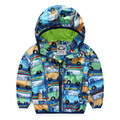 Baby Boys Jackets 2016  Autumn Hooded Printed Car Children Outerwear & Coats Kids Windbreaker Waterproof Clothes 2-8 Years