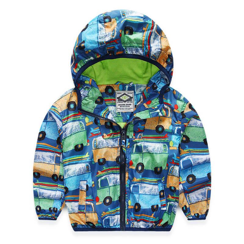 Dětské chlapecké bundy s kapucí tištěné auto děti svrchní - Dětské oblečení