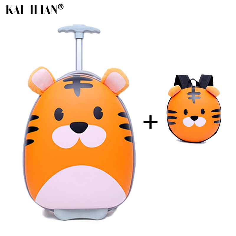 18'' Cartoon Suitcase On Wheels Children Trolley Suitcase Set Travel Rolling Luggage Lovely Kids Travel Bags Gift For Boy Girls