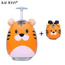 Valise à roulettes de 18 ''pour enfants, joli chariot à bagages de voyage, valise, sacs de voyage pour garçons et filles