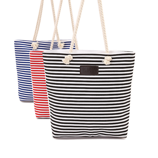 fe0fdd8249d Canvas Summer Beach Bag Ladies Shoulder Bags Women Messenger Tote Bags  Large Female Handbags Casual Striped