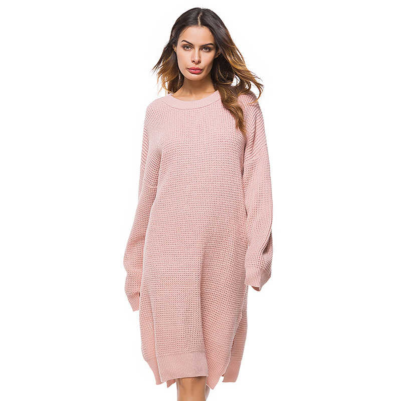 Autumn Pink Sweater Dress Women Big Size Long Sleeve O-Neck Knitted Spring Solid Vestidos Loose Casual Party Dress Ladies