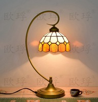 BaroqueTiffany Table Lamp Country Style Stained Glass Lamp for Bedroom Bedside Lamp E27 110 240V