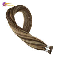 Moresoo I tip Hair Extensions Brown #4 Highlights with Blonde #14 Keratin Pre-Bonded 100 Remy Hair Extensions 40g/set 0.8g/1s