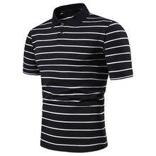 283876b88ba Listrado dos homens Casual Slim Fit Camisas de Manga Curta Gola Camisa  Blusa Top juventus camisa