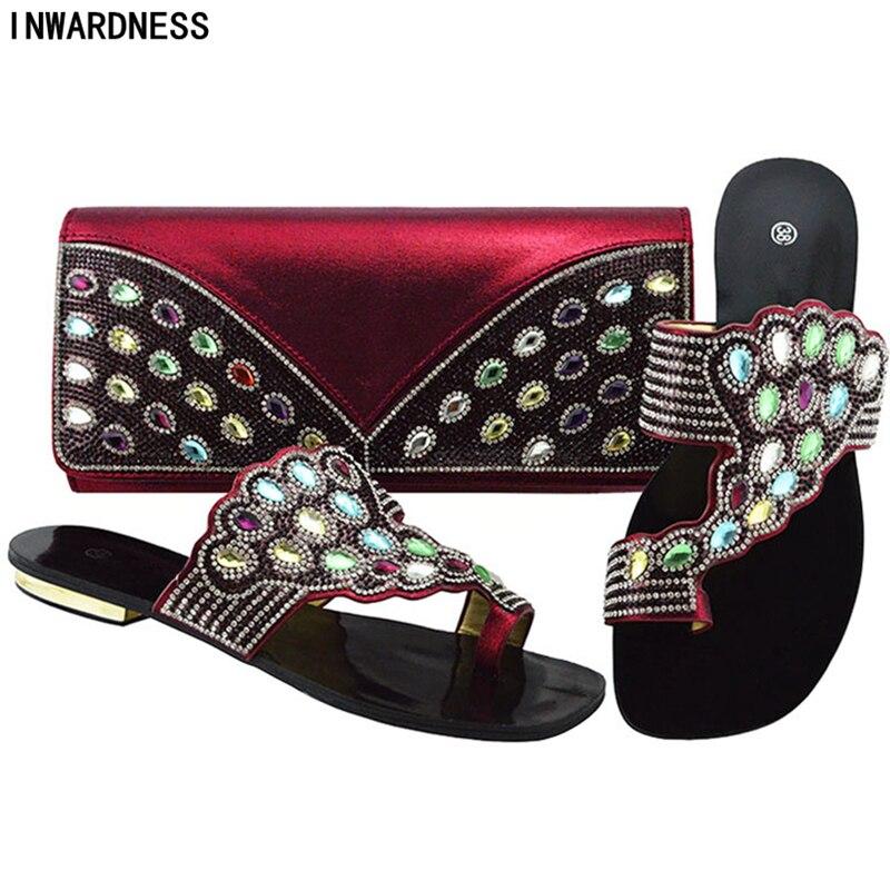 Decorado Boda Conjunto vino Tinto Y negro púrpura Italianos Rhinestone Bolsa Mujeres Fuchsia La Zapatos Cristalinos oro Cielo Con Nigerianos azul De Nueva gq58dg