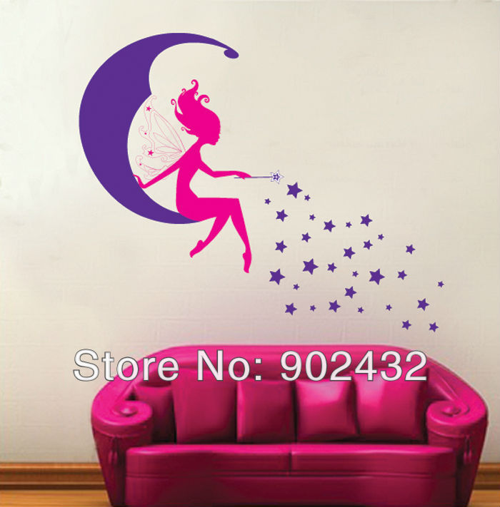Moon Fairy And Stars Wall Stickers For Kids Room Home Wall Decals