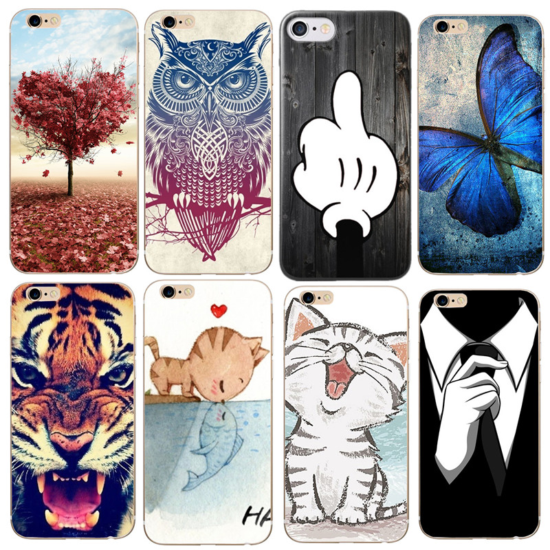 Fashion Flower Owl Cat Case Soft TPU Cover Capa Capinha Funda Coque For iPhone 6 Case For iPhone 7 8 Plus 6 S 5 5S SE X Cases
